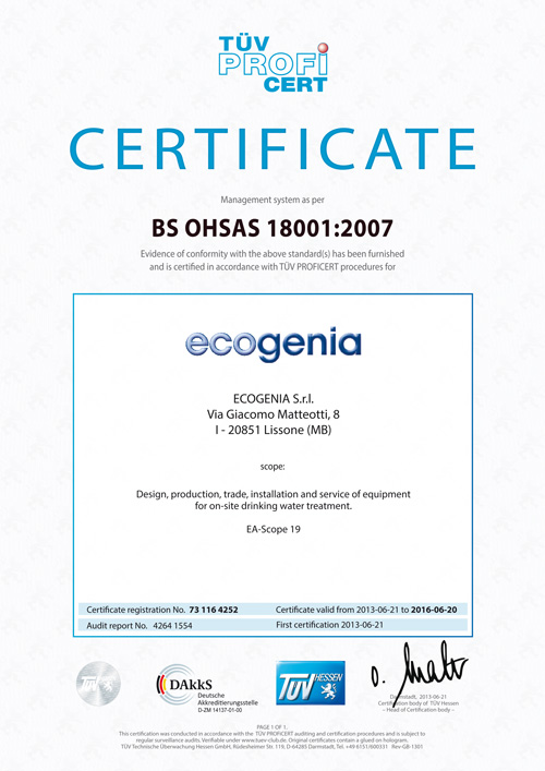 Safety Certification OHSAS 18001 - AVANT TECHNOLOGY DETERGENCY ...