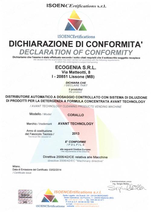 dichiarazione di conformità sistema detergenza corallo